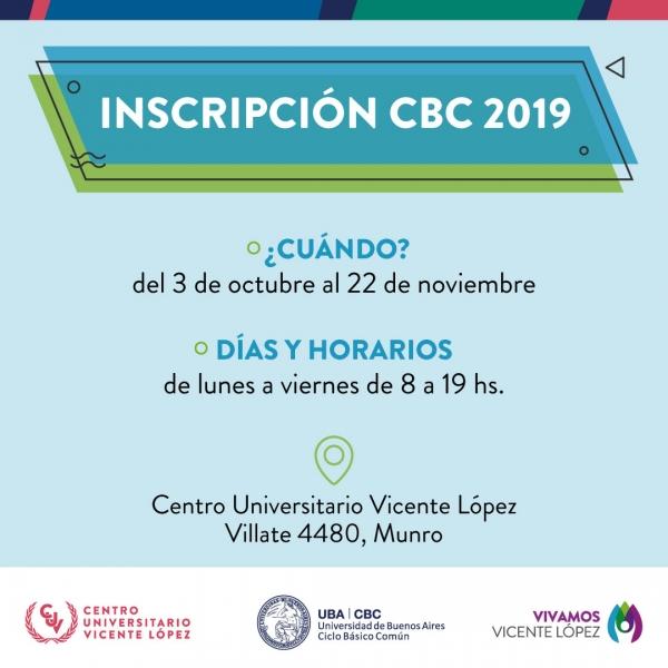INSCRIPCIÓN AL CBC 2019